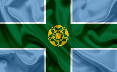 Download wallpapers County Derbyshire Flag, England, flags of English counties, Flag of Derbyshire, British County Flags, silk flag, Derbyshire