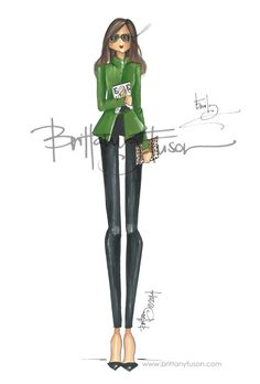 Emily Dougherty of Elle by Brittany Fuson Ballet Fashion, Fashion Dolls, Fashion Art, Girl Fashion, Fashion Illustration Sketches, Fashion Design Sketches, Fashion Drawings, Fashion Painting, Watercolor Fashion