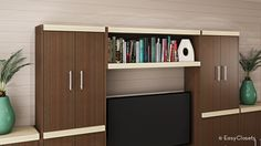 Make your book collection the center of attention with a contemporary bridge shelf attached to your media center.