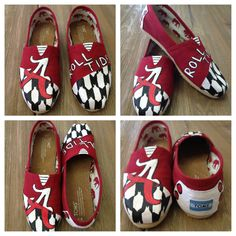 Hand Painted Roll Tide Alabama University TOMS Shoes