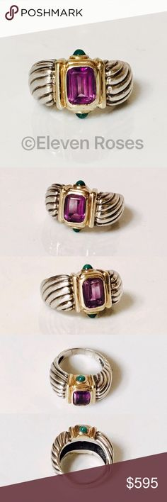 David Yurman Amethyst Green Onyx Renaissance Ring David Yurman Amethyst & Green Onyx Renaissance Ring - 925 Sterling Silver & 585 14k Yellow Gold - Emerald Cut Amethyst Gemstone & Green Onyx Cabochons - US Size 6.25 -  Preowned / Preloved  💕 May Show Slight Signs Of Having Been Worn.  📷  Listing Images Are Of Actual Item Being Offered David Yurman Jewelry Rings