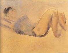 Giorgos Bouzianis (1885-1059) Reclining Woman, 1927 Artist Gallery, Life Drawing, Artsy, San, Watercolor, Drawings, Art Database, Image, Expressionism