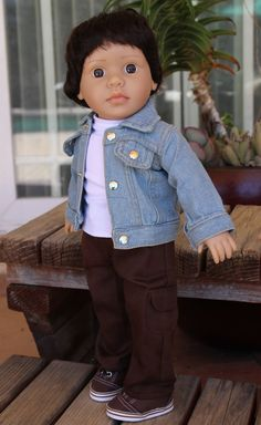 Our 18 Inch Mason Boy Dolls looks fabulous in this denim jacket, available at www.harmonyclubdolls.com