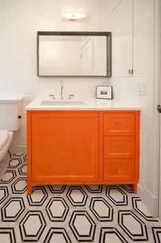 Central Park West Residence - transitional - bathroom - new york - PACS Architecture - Orange Cabinet + Hexagon tile Diy Bathroom Storage, Orange Bathrooms, Vanity, Guest Bathroom Small, Diy Bathroom Remodel, Bathroom, Small Bathroom Vanities, Orange Cabinets, Transitional Bathroom