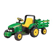 John Deere 12 Volt Farm Power Tractor with Trailer