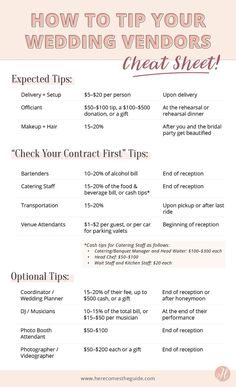 Which vendors should you tip? We know it's confusing, so we've put together a handy-dandy guide to tipping your vendors. Get more wedding planning tips and tricks on Here Comes The Guide! Wedding On A Budget, Plan Your Wedding, Wedding Hacks, Budget Bride, Wedding Advice, Tips And Tricks, Wedding Vendors, Wedding Events, Wedding Services