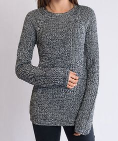 Loving this Black Marled Long-Sleeve Sweater on #zulily! #zulilyfinds