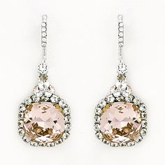 Haute Bride Wedding Earrings. Vintage Rose crystal drop bridal earrings with a vintage vibe. Favorite color. One of our best selling earrings.