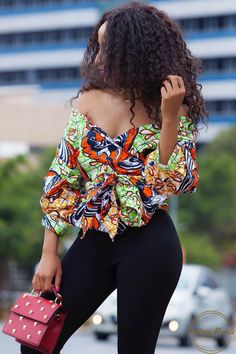 """ecstasymodels: """" African Cold Shoulder Ankara Shirt by @sgtcclothing Fashion Look by simplypalesa """""""