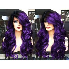 Purple Lace Front Wig Ombre Pastel HEAT Ok Long Curly Skin Part Black... ($130) ❤ liked on Polyvore featuring beauty products, haircare, hair styling tools, flat curling iron, flat iron, straight iron, straightening iron and styling iron