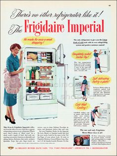 1951 Vintage Ad Frigidaire Imperial Refrigerators // Old Refrigerators Ad // 1950s Housewife