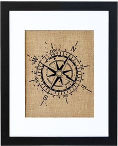 Compass burlap art print by Fiber and Water || nautical home decor for the living room, kitchen, bedroom, mudroom. Rustic burlap prints for your home.