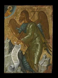 Icon painted with egg tempera and with gold over gesso and linen on cedar wood. It represents the winged figure of St John the Baptist who is standing in front of two rocky grey-coloured mountains and is turned to the left. 1450 (circa) Production placeMade in: Crete term details(Europe,Greece,Crete)