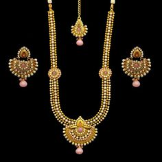 Pink CZ Pearls Indian Ethnic Fashion Long Rani Haar Necklace Earrings Mang Tika #Indian