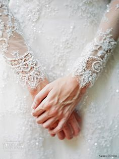 sareh nouri bridal fall 2014 queen elizabeth long sleeve lace wedding dress detail