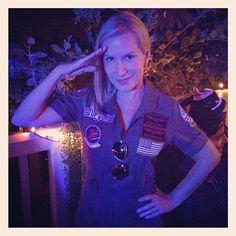 Pin for Later: The All-Time Best Celebrities in Pop Culture Costumes Maverick Angela Kinsey channelled Top Gun's Maverick for Halloween 2013. Source: Instagram user angelakinsey