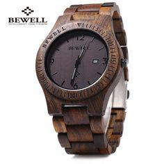 Bewell Luxury Brand Wood Watch men Analog Quartz Movement Date Waterproof Male Wristwatches