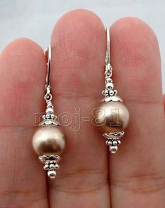 10MM Champagne South Sea Shell Pearl Sterling Silver Leverback Dangle Earrings