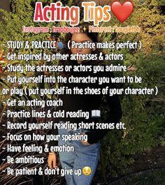 Acting Tips ✨ , Acting Lessons, Acting Tips, Acting Skills, Acting Career, Art Lessons, Acting Monologues, Acting Scripts, Girl Advice, Girl Tips