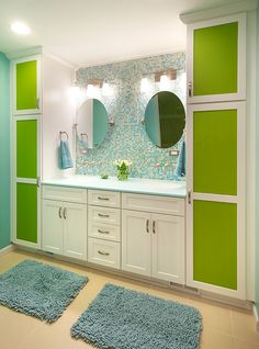 Colorful, modern bathroom design by Creative Elegance Interiors.