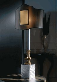 """Signature Collection: Grand 38"""" Tall Gold Plated Shield Form Table Lamp * Black * Pricing By Quotation"""