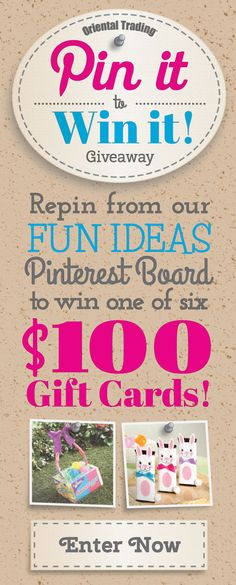 Enter to win! Enter your email and user name, follow orientaltrading on pinterest (all their boards), then repin something from the Fun Ideas board. Click here: http://sweeps.pinfluencer.com/orientaltrading