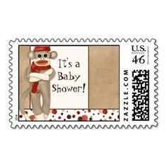 Sock Monkey, Baby Shower Postage