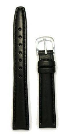 Ladies' Genuine Italian Oil Tanned Leather Watchband Black 14mm Watch Band. Genuine Quality Italian Leathers. Genuine Leather Lining. Made By J.P. Leatherworks. Superb Quality and Value.