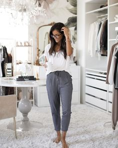 Check out this post! Roundup of cute and comfy loungewear. All of the outfits are perfect for staying at home! Loungewear set, joggers, basic white tee, white t-shirt, gold jewelry, casual outfit, stay at home outfit, my closet, floral wall mural, stay at home outfit, comfortable everyday outfit.