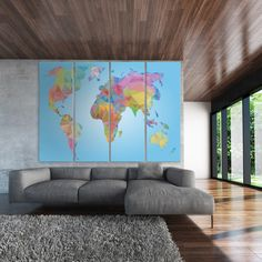 Large colorful modern world map, abstract world map, colorful map of the world/3 or 5 Panels on Canvas Wall Art for Home & Office Decoration by TexelPrintArt on Etsy