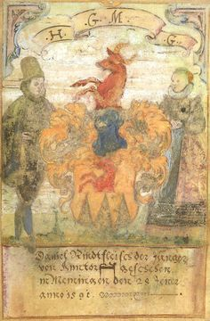«Album Amicorum de Daniel Rindfleisch de Memmingen» (1590-1591) [BNF Ms Rothschild 3369 (2522 e) IV, 8, 61 - ark:/12148/btv1b10303691z] -- Armes de Rindfleisch (Daniel) der Jüngere, d'Amstorf, Memmingen, 28 janv. 1591 (f°14r)