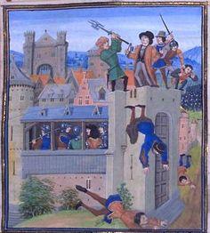 Assassinat d'Étienne Marcel en 1358. Jean Froissart, Chroniques. Flandre, Bruges XVe s. fol. 230. (BNF , FR 2643)