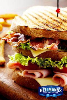 A great sandwich is a work of art! Stuffed with toasted bacon, ham and cheese, this recipe belongs in a museum. For a beautifully made sandwich, try the precision tip of our new Hellmann's Squeeze!