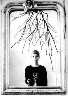 self-portrait of photographer astrid kirschherr, early 1960s. famous for her photos of her friends who were in a band playing in hamburg when she was at art school.