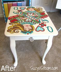 Turn a table into a masterpiece!  Beautiful Queen of Hearts pattern painted onto a thrift store table.