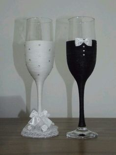 Wedding Wine Glasses-£H