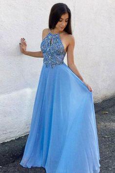 Chiffon Prom Dresses, A-Line Prom Dresses, Blue Prom Dresses, Unique Prom Dresses, Prom Dresses Long, Prom Dresses 2019 #PromDressesLong #UniquePromDresses #ChiffonPromDresses #PromDresses2019 #BluePromDresses #ALinePromDresses