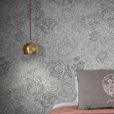 Porcelain Roses Wallpaper by Emmi Pouta Modern Floral Wallpaper, Shabby Chic Wallpaper, Floral Wallpapers, Rose Wallpaper, Textile Design, Floral Design, Modern Homes, Beautiful Bedrooms, Elle Decor