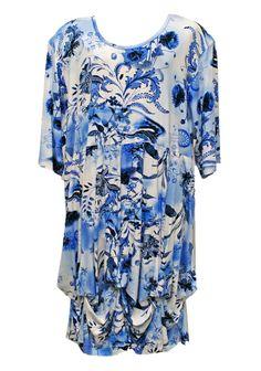 AKH Fashion Lagenlook Empire Wolken Tunika Kleid in blau XL Mode bei www.modeolymp.lafeo.de