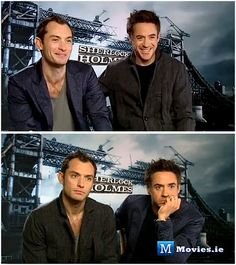"""Jude Law and Robert Downey Jr. do press interviews for """"Sherlock Holmes"""""""