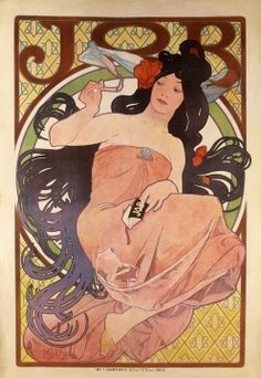 JOB Cigarette Papers (1898)  Alphonse Mucha, father of Art Nouveau.