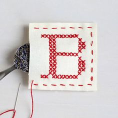 Letter B - Stitch Your Own Sachet Kit – Craft a lavender-scented sachet using simple cross stitch. Lavender, floss, hoop and pre-printed fabric in the kit. // heatherlinshome.com