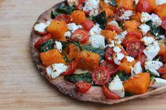 Caramelised pumpkin and fetta pizza