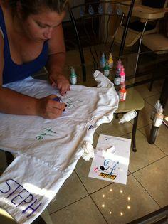 Karen making a t-shirt for Stephanie