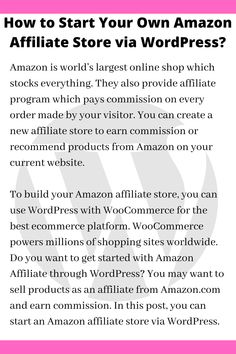 Amazon is world's largest online shop which stocks everything. They also provide affiliate program which pays commission on every order made by your visitor. You can create a new affiliate store to earn commission or recommend products from Amazon on your current website. Seo Tips, Affiliate Marketing, Online Business, How To Start A Blog, Improve Yourself, Blogging, Wordpress, About Me Blog, Group