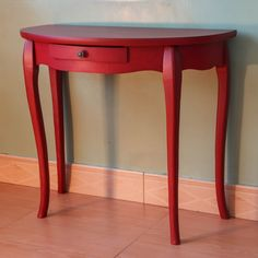 Vintage Half Moon Side Table 3 Legged Table Small Wood