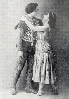 Vasily Tikhomirov (Jean de Brienne?) and Yekaterina Geltzer (Raymonda?) in the ballet «Raymonda». Mariinsky Theatre.