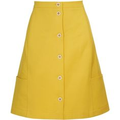 FENDI Perforated A-line Cotton Skirt (20.065 RUB) ❤ liked on Polyvore featuring skirts, yellow, bottoms, fendi skirt, knee length a line skirt, fitted skirts, button front a line skirt and embellished skirts