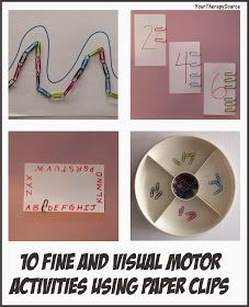 Your Therapy Source - www.YourTherapySource.com: 10 Fine and Visual Motor Activities Using Paper Clips