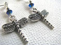 Nature Series  Silver Dragonfly and Iridescent by joyaslindas3, $14.99